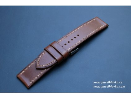 Kožený řemínek Apple Watch prošívaný - Pull-up Hnědý