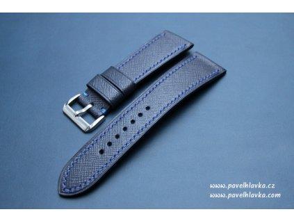 Kožený řemínek Apple Watch prošívaný - Saffiano Navy