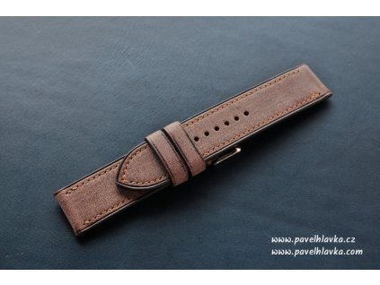 Kožený řemínek Apple Watch prošívaný - Denim Hnědý