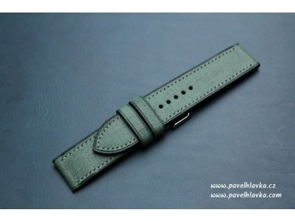 Kožený řemínek Apple Watch prošívaný - Denim Zelený