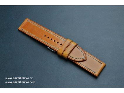 Kožený řemínek Apple Watch prošívaný - Antik Okr