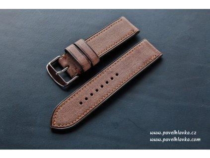 Ručně šitý kožený řemínek pásek pro hodinky apple watch denim hnědý