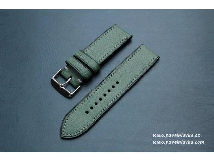 Ručně šitý kožený řemínek pásek pro hodinky apple watch denim zelený