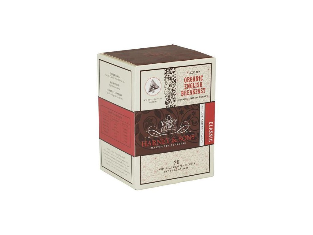 HARNEY AND SONS ORGANIC ENGLISH BREAKFAST BOX OF 20 INDIVIDUALLY WRAPPED SACHETS grande