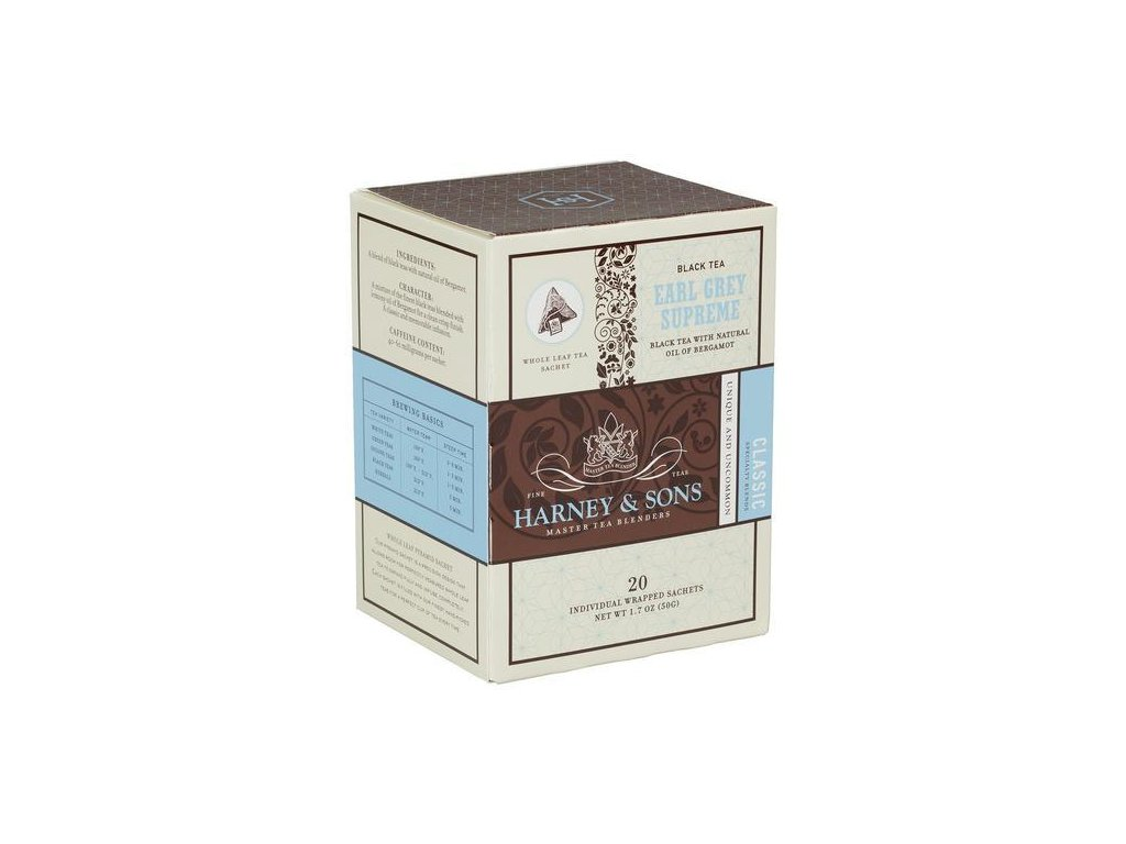 HARNEY AND SONS EARL GREY SUPREME BOX OF 20 INDIVIDUALLY WRAPPED SACHETS grande
