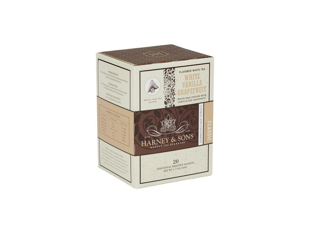 HARNEY AND SONS WHITE VANILLA GRAPEFRUIT BOX OF 20 INDIVIDUALLY WRAPPED SACHETS grande