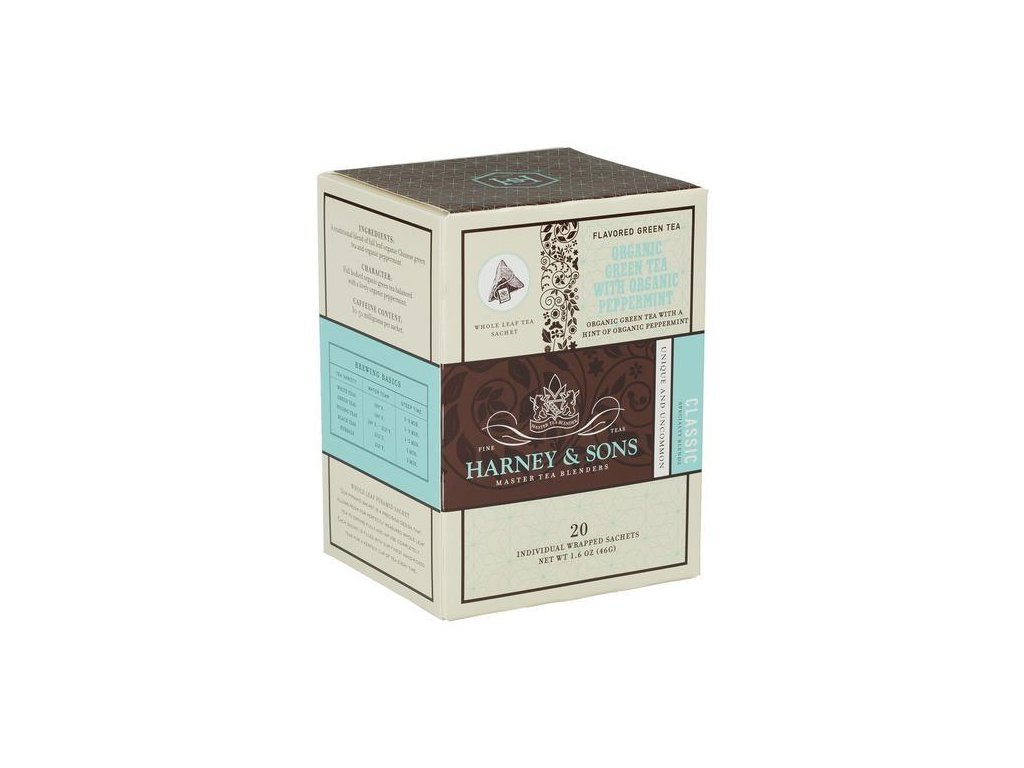 HARNEY AND SONS ORGANIC GREEN WITH ORGANIC PEPPERMINT BOX OF 20 INDIVIDUALLY WRAPPED SACHETS grande