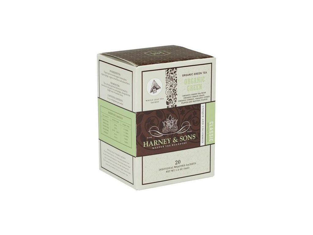 HARNEY AND SONS ORGANIC GREEN BOX OF 20 INDIVIDUALLY WRAPPED SACHETS grande
