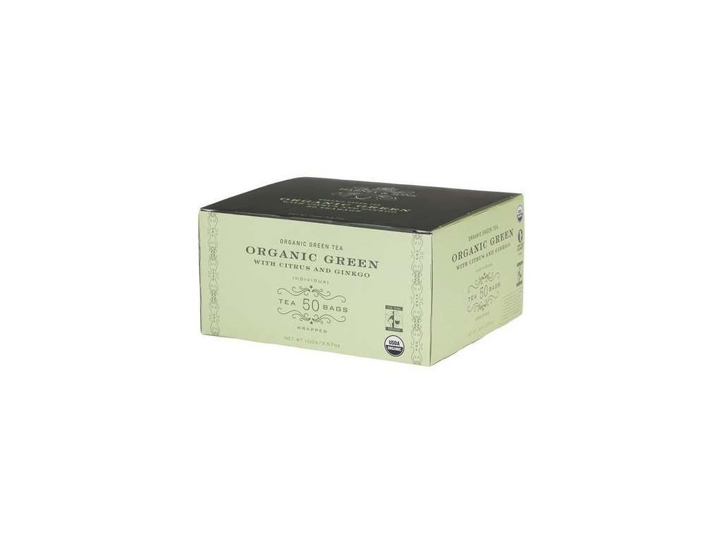 HARNEY AND SONS ORGANIC GREEN WITH CITRUS AND GINKO BOX OF 50 FOIL WRAPPED TEABAGS grande