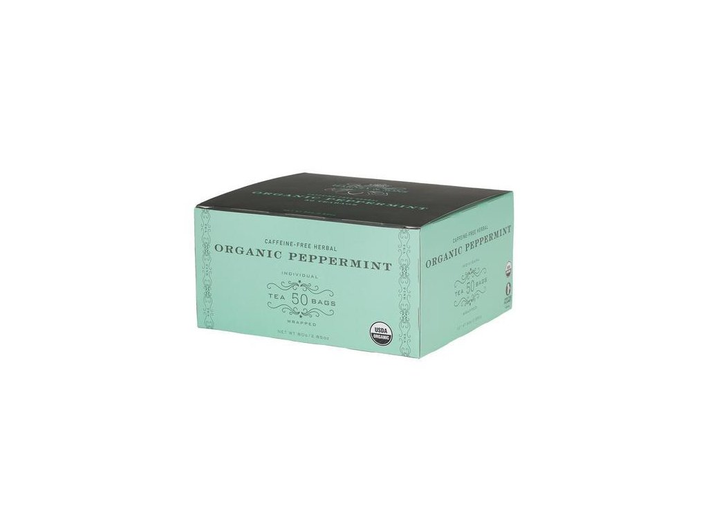 HARNEY AND SONS ORGANIC PEPPERMINT BOX OF 50 FOIL WRAPPED TEABAGS grande