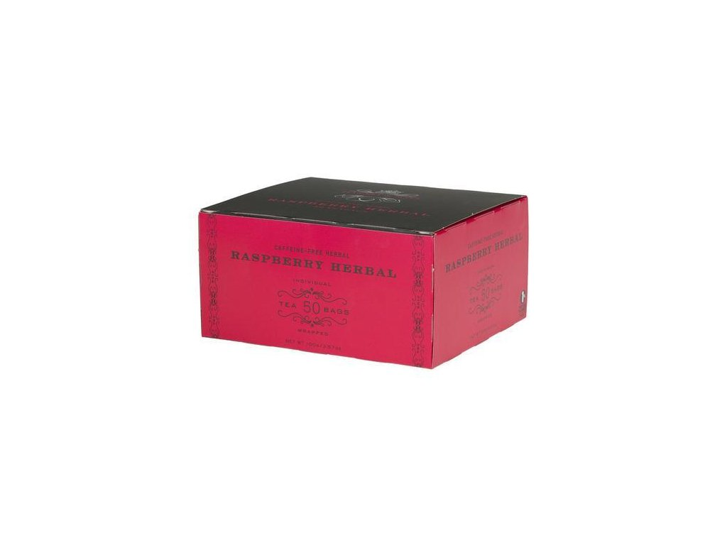 HARNEY AND SONS RASPBERRY HERBAL BOX OF 50 FOIL WRAPPED TEABAGS grande
