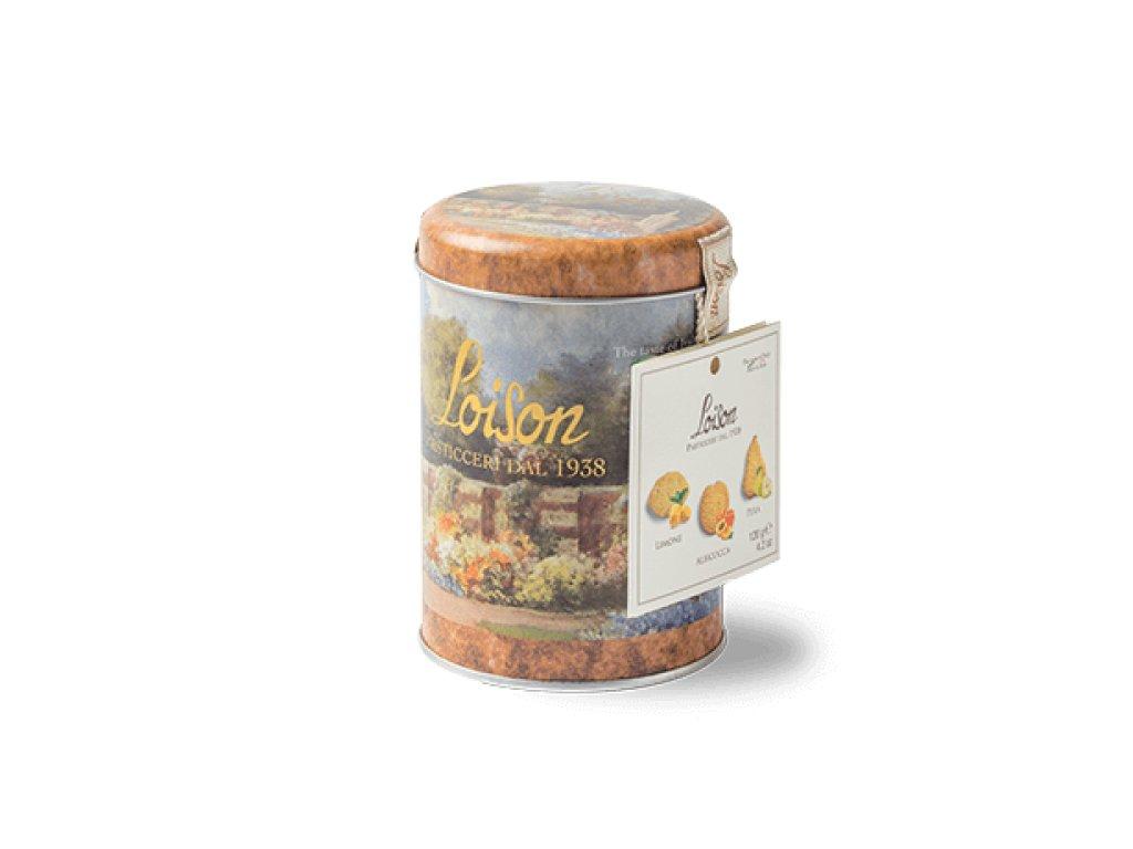 mix sušenek v plechovce 120g  citron, meruňka, broskev