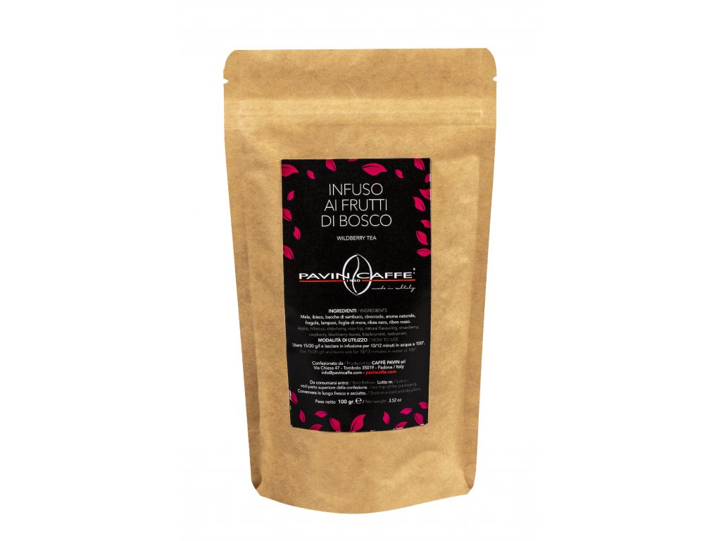 sypaný čaj PAVIN CAFFE lesní ovoce, balení 100gr