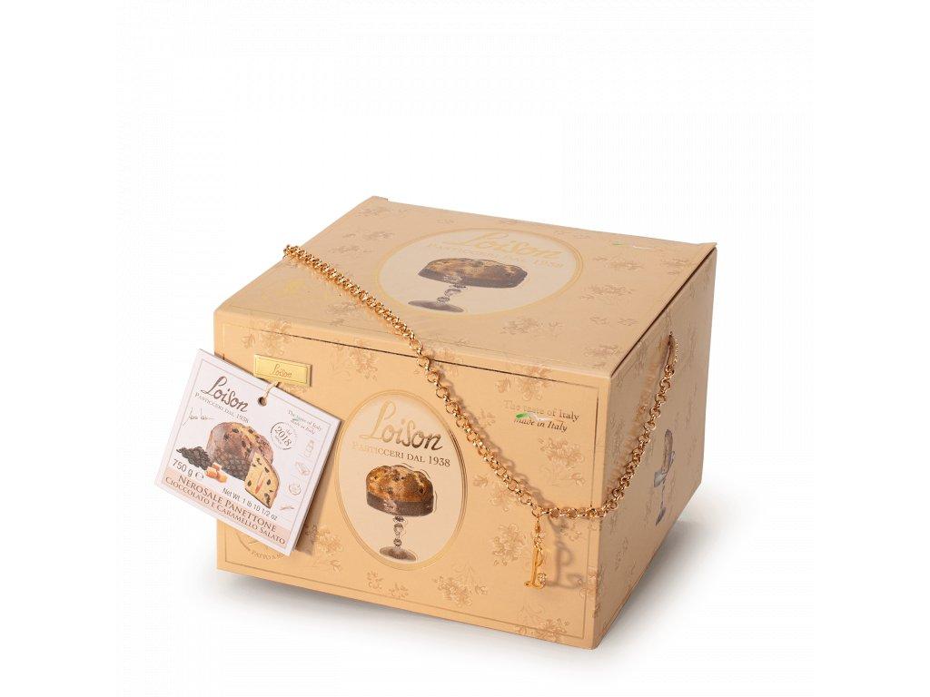Panettone Nerosale s čokoládou a slaným karamelem Loison - 750g GOLD