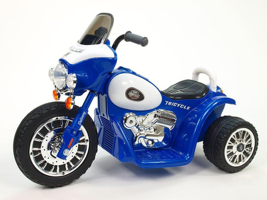 269 11 elektricka motorka chopper na masivnich kolech 6v modra barva