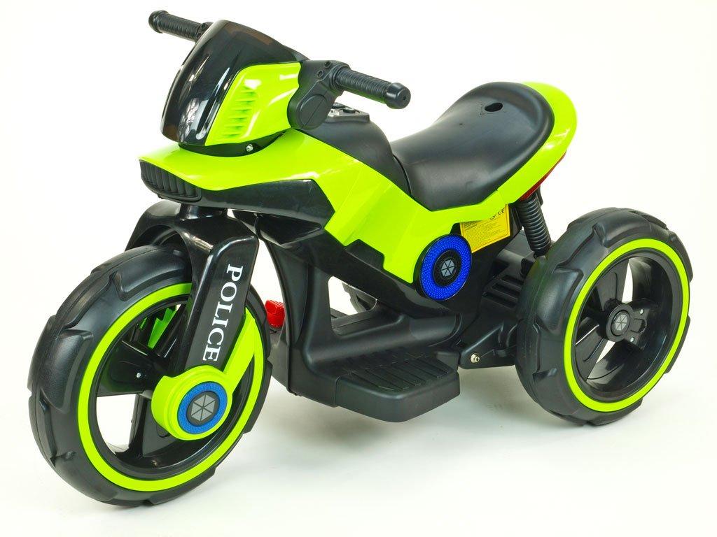 293 13 elektricka motorka police na velikych kolech atraktivni design usb tf mp3 2x nahon 2 motory 6v zelena