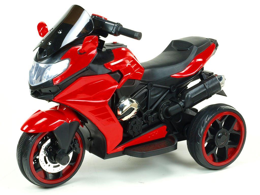 242 18 elektricka motorka tricykl dragon s mohutnymi vyfuky motory 2x12v digiplayer usb mp3 voltmetr led osvetleni cervena barva
