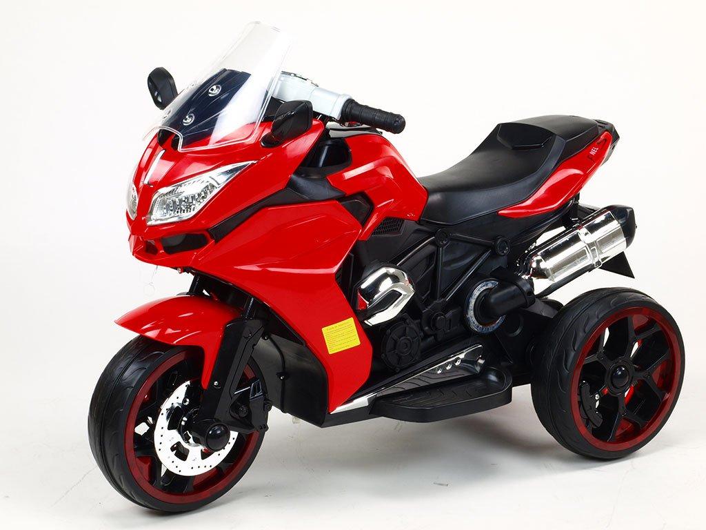 245 22 elektricka motorka tricykl dragon s osvetlenymi koly motory 2x6v perovanim napravy led osvetleni cervena barva