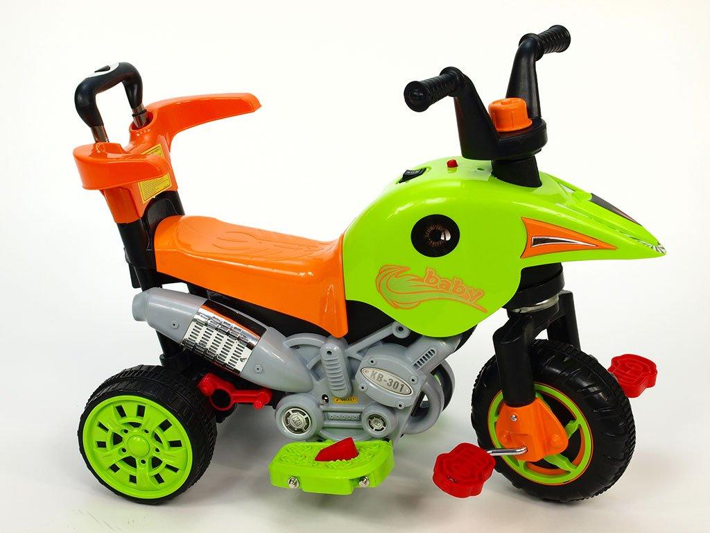 227 21 elektricka motorka trikolka s vysuvnou vodici tyci slapkami jizda na motor slapanim tlacenim madla zelena