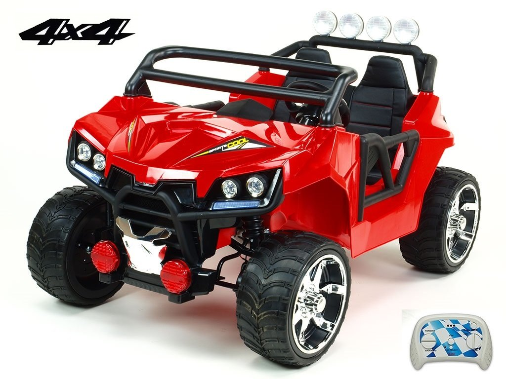1094 25 elektricke auticko dvoumistna bugina cool sport 4x4 nahon 4 eva kol s 2 4g do usb tf mp3 calounenou sedackou 54cm nadhernym led osvetlenim cervena