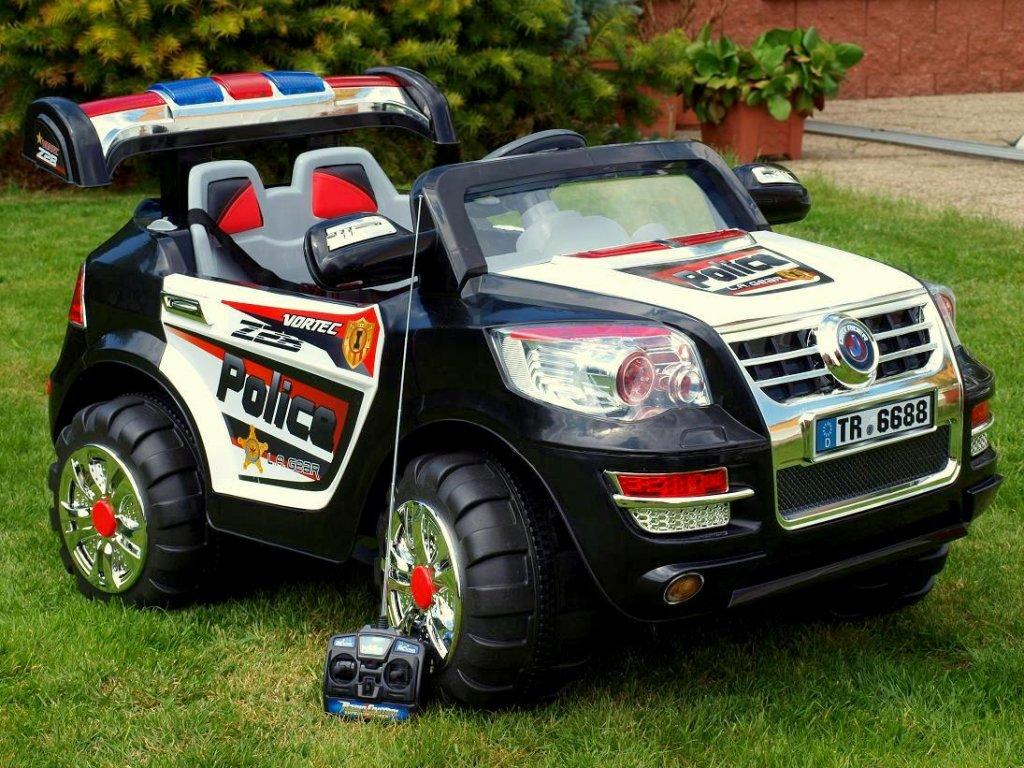 536 12 elektricke auticko dzip policie nycity s majakem kozenym polstrem 2x motor 12v dalkove ovladani