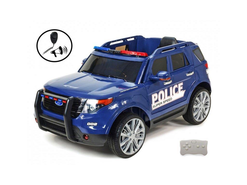698 21 elektricke auticko dzip usa policie s 2 4g do megafonem policejnim osvetlenim eva koly otviracimi dvermi perovanim fm usb sd mp3 volt modry