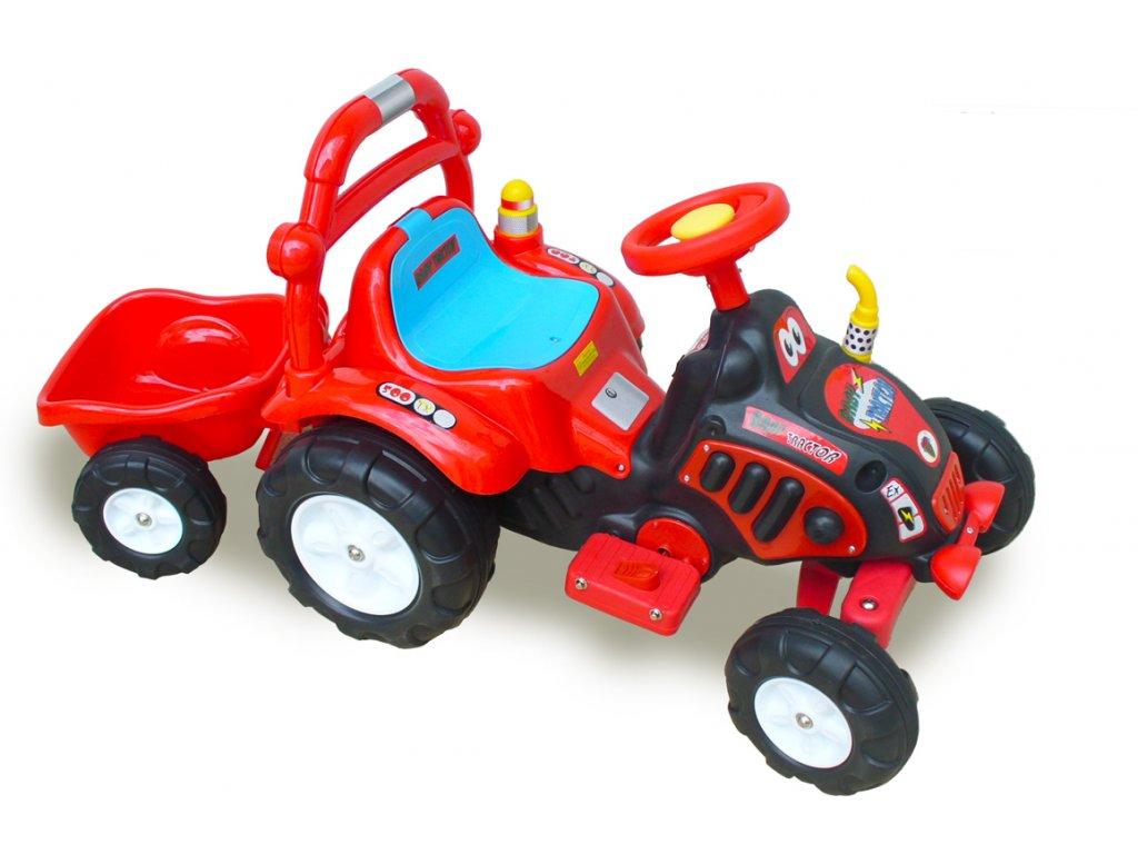 875 18 elektricke auticko elektricky traktor s vlekem naradim nalepkami cerveny