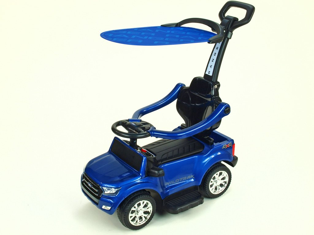 524 44 elektricke auticko ford ranger pro nejmensi 6v s vodici tyci striskou madly 2 operky mp3 tf card lakovana modra metaliza