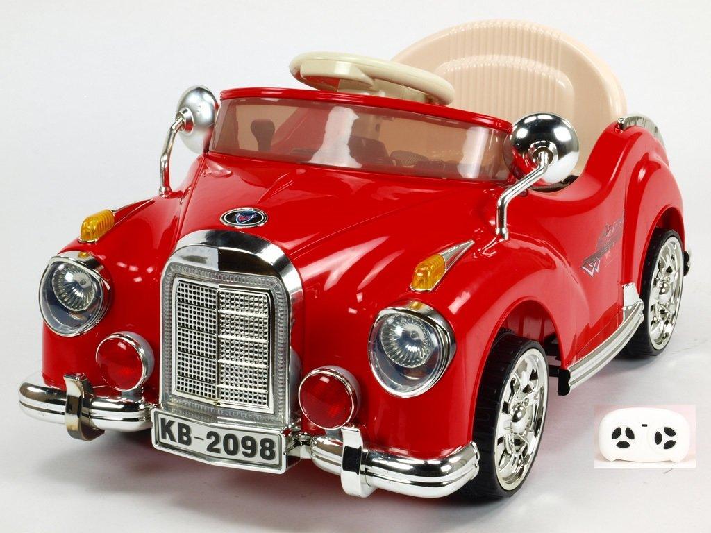 350 18 elektricke auticko kuba retro mini s 2 4g do plynulym rozjezdem led osvetlenim hudbou 6v cervene