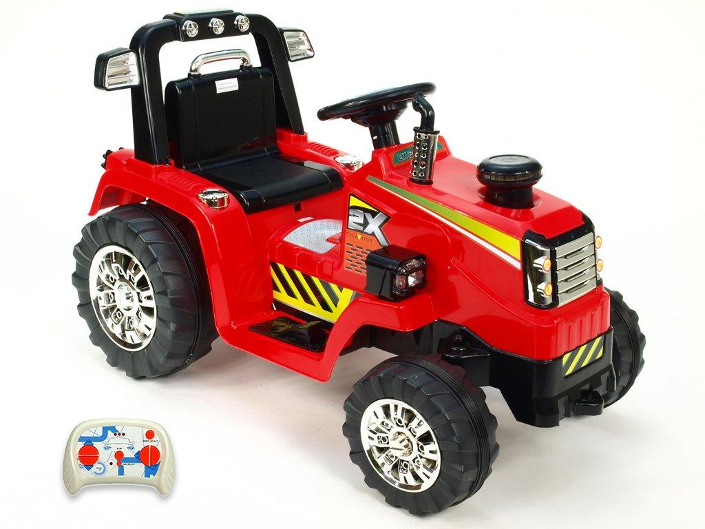 896 23 elektricke auticko traktor 12v s 2 4g dalkovym ovladanim mohutnymi koly a konstrukci zvukovymi a svetelnymi led efekty 2xnahon 3 rychlosti cerveny