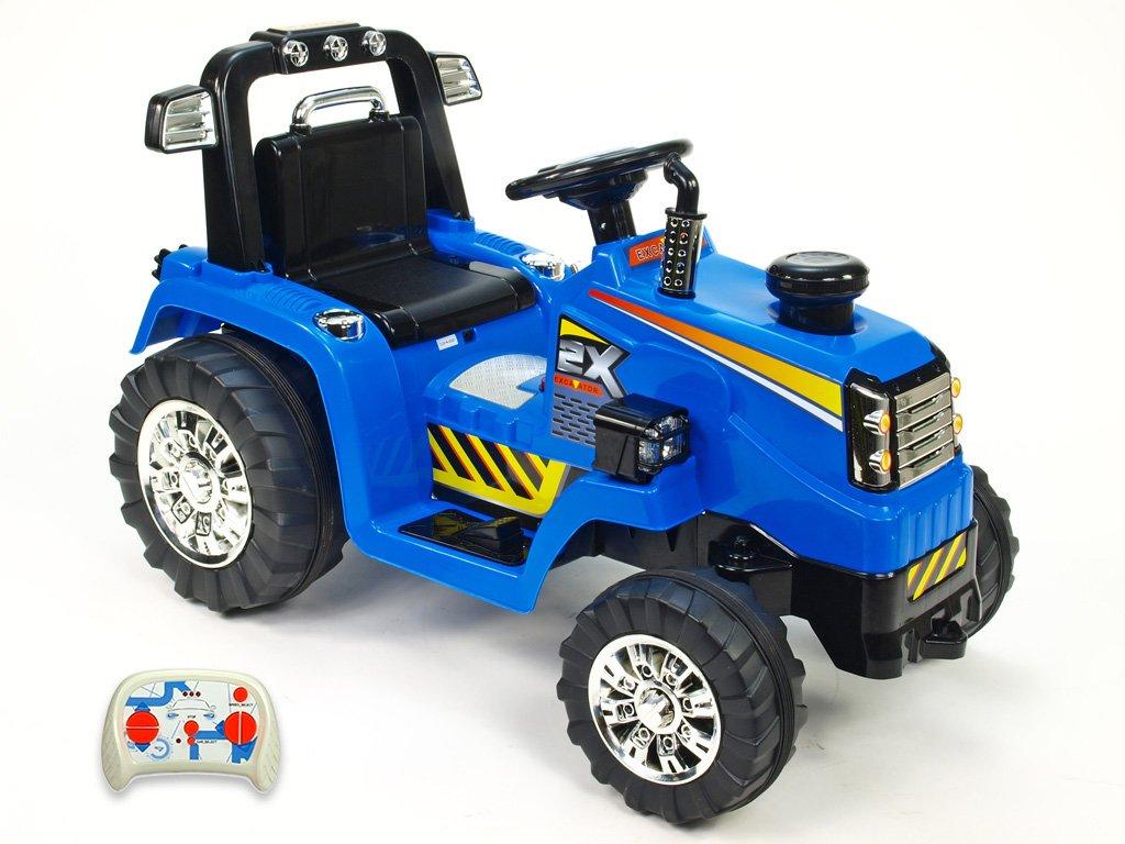 899 30 elektricke auticko traktor 12v s 2 4g dalkovym ovladanim mohutnymi koly a konstrukci zvukovymi a svetelnymi led efekty 2xnahon 3 rychlosti modry
