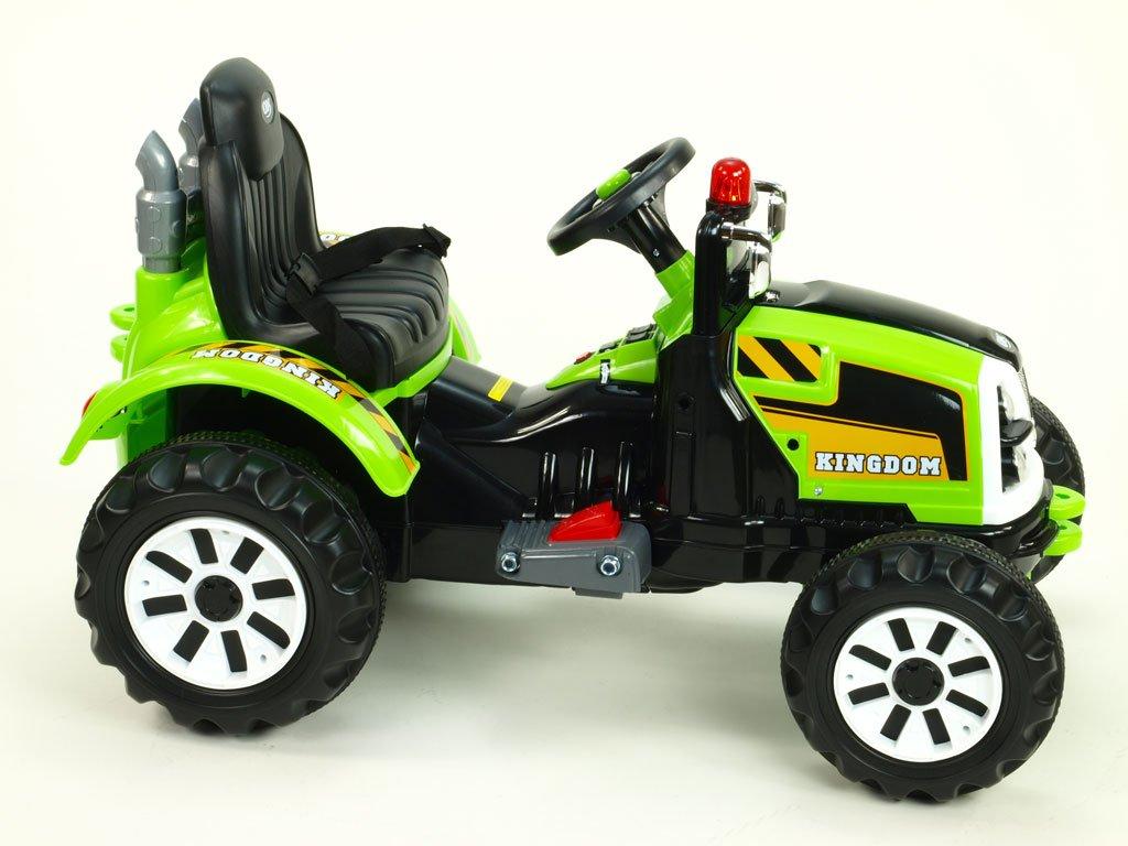 914 16 elektricke auticko traktor kingdom s mohutnymi koly a konstrukci 2x motor 12v 2x nahon zeleny