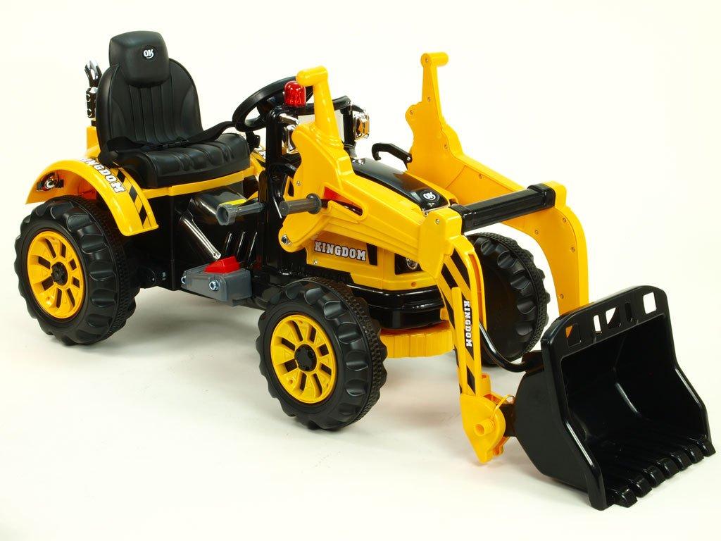 926 17 elektricke auticko traktor kingdom s ovladatelnou nakladaci lzici mohutnymi koly a konstrukci 2x motor 12v 2x nahon zluty