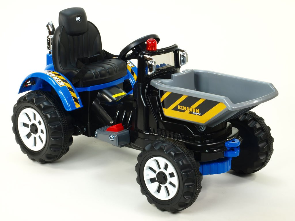 920 18 elektricke auticko traktor kingdom s vyklopnou korbou mohutnymi koly a konstrukci 2x motor 12v 2x nahon modry