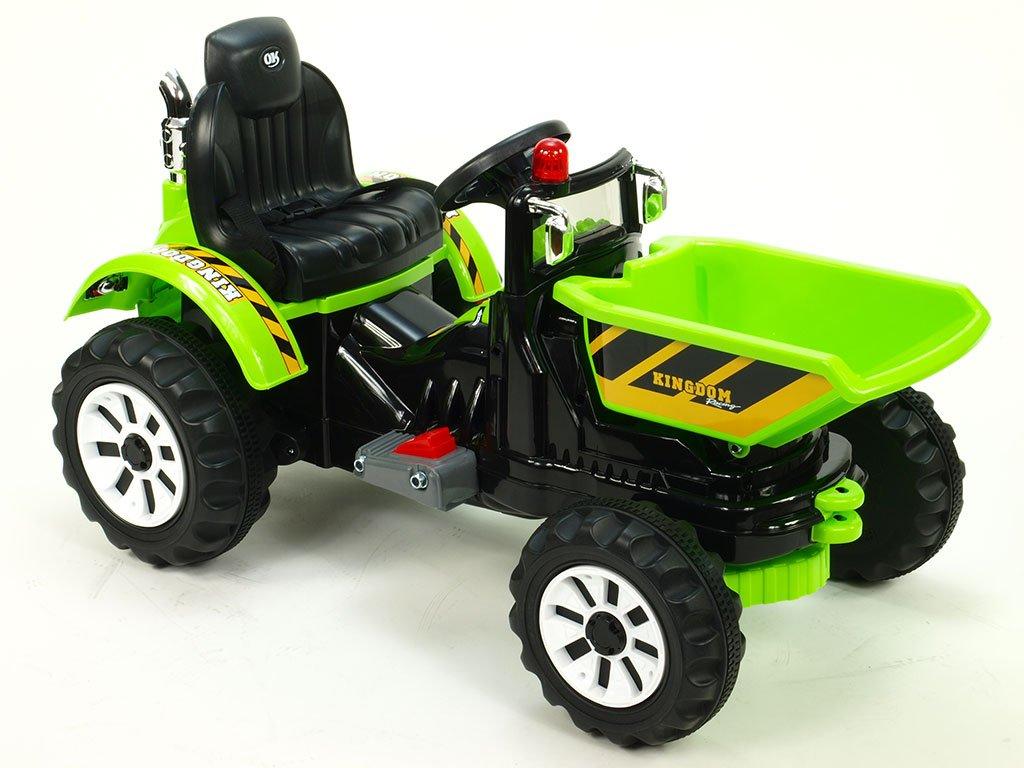 905 18 elektricke auticko traktor kingdom s vyklopnou korbou mohutnymi koly a konstrukci 2x motor 12v 2x nahon zeleny