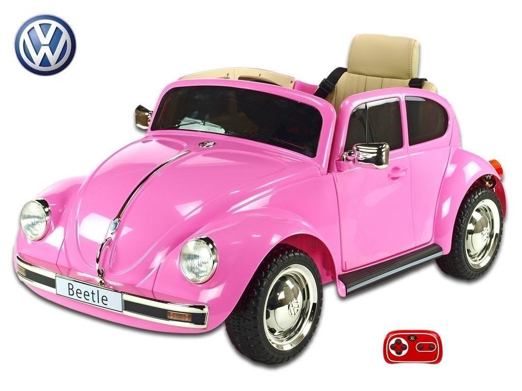 Elektrické auto VW Beetle oldtimer,růžový