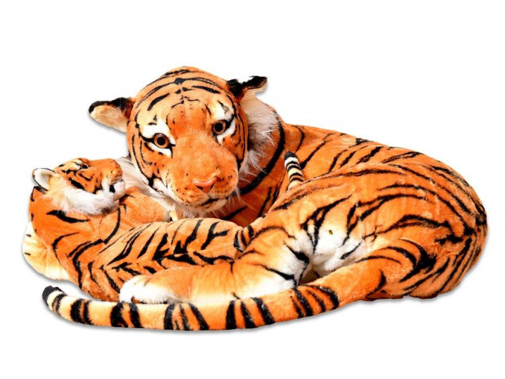 Plyšová tygřice s mládětem, oranžová,140/65 cm