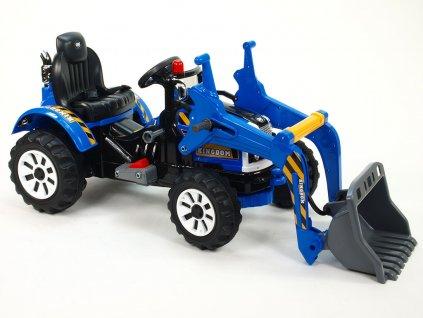 893 21 elektricke auticko traktor kingdom s ovladatelnou nakladaci lzici mohutnymi koly a konstrukci 2x motor 12v 2x nahon modry