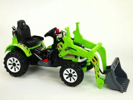 923 21 elektricke auticko traktor kingdom s ovladatelnou nakladaci lzici mohutnymi koly a konstrukci 2x motor 12v 2x nahon zeleny