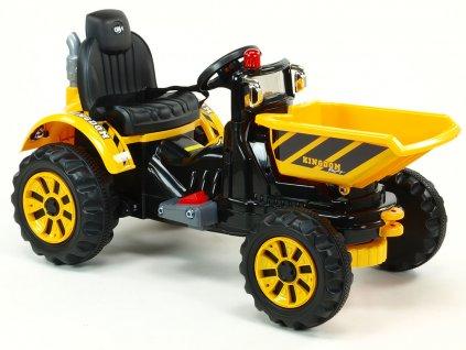 935 19 elektricke auticko traktor kingdom s vyklopnou korbou mohutnymi koly a konstrukci 2x motor 12v 2x nahon zluty