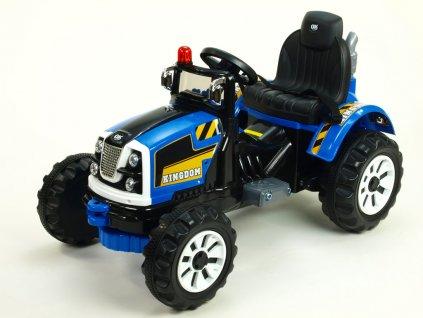Dětský elektrický  traktor Kingdom s mohutnými koly a konstrukcí,modrý