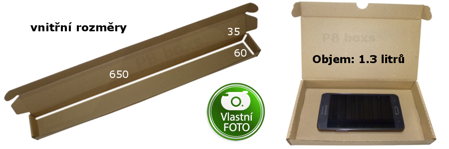 Výseková krabice 650x60x35 mm