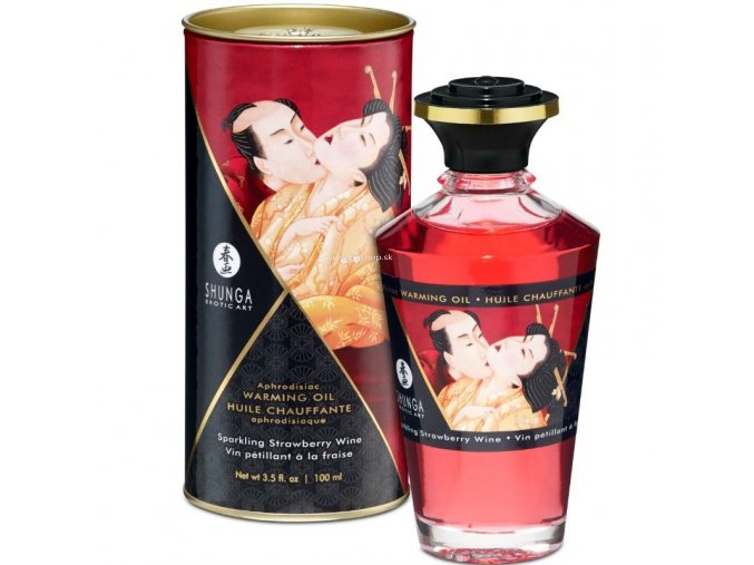 17444 shunga aphrodisiac warming oil sparkling strawberry wine 100 ml