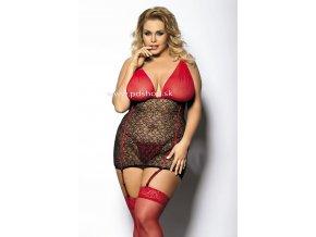 27224 yammy black red chemise xl cierno cervena spodnicka