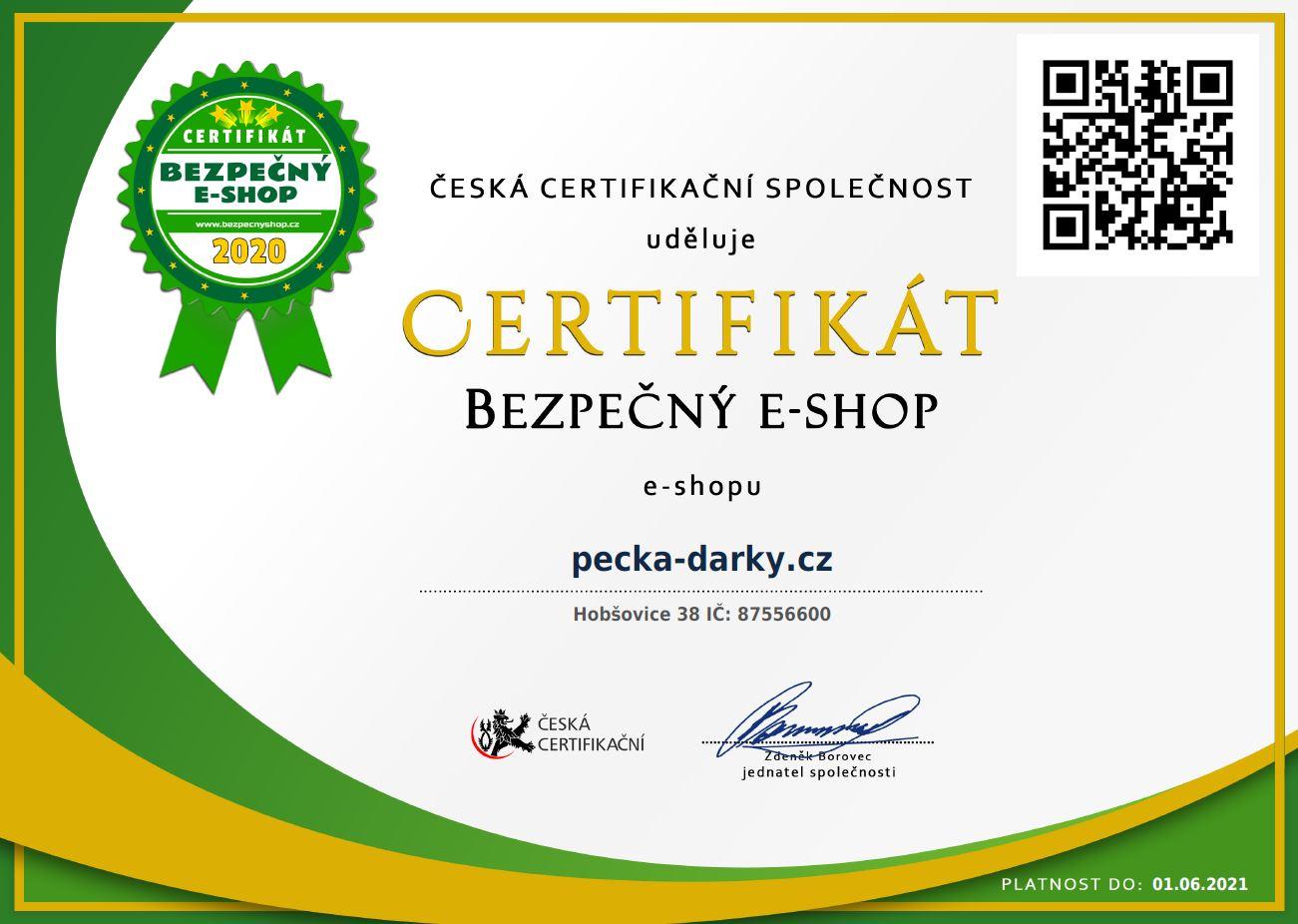 Certifikát www.bezpecnyshop.cz