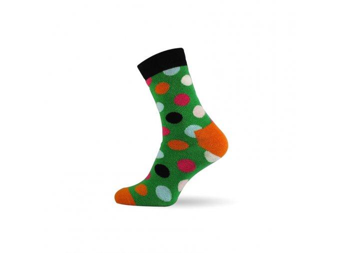 damske barevne ponozky dot green