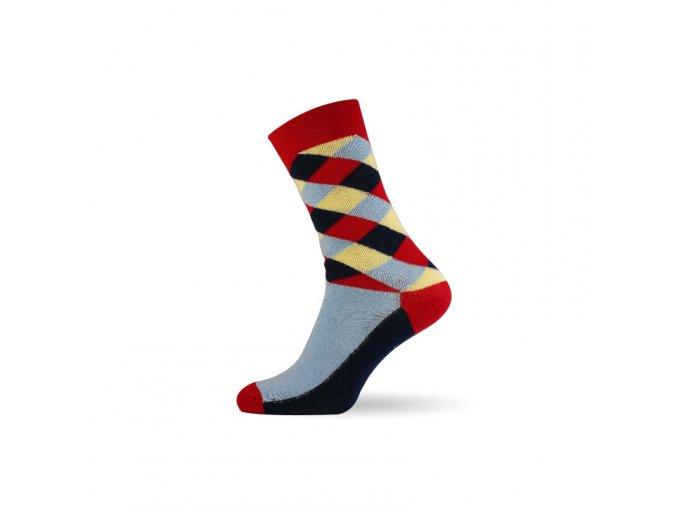 panske barevne ponozky criss cross red
