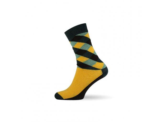 panske barevne ponozky criss cross yellow