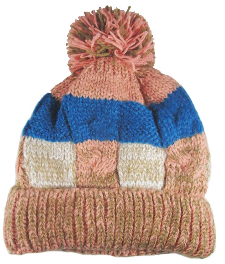 Dámská zimní čepice s bambulí pink