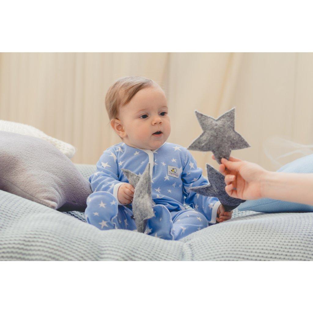 Overal - modrý s hvězdami